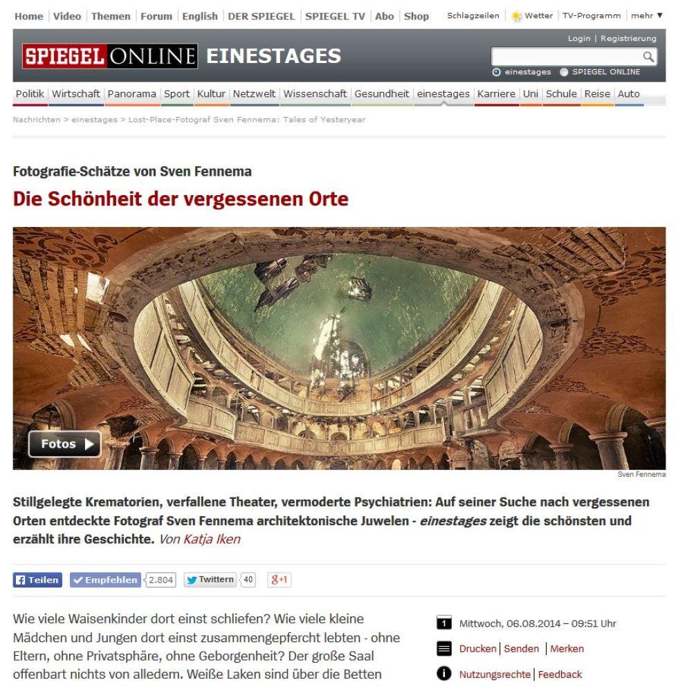 """Spiegel Online – """"Die Schönheit der vergessenen Orte"""""""
